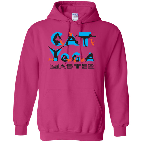 CAT YOGA MASTER -  Pullover Hoodie 8 oz - GoneBold.gift