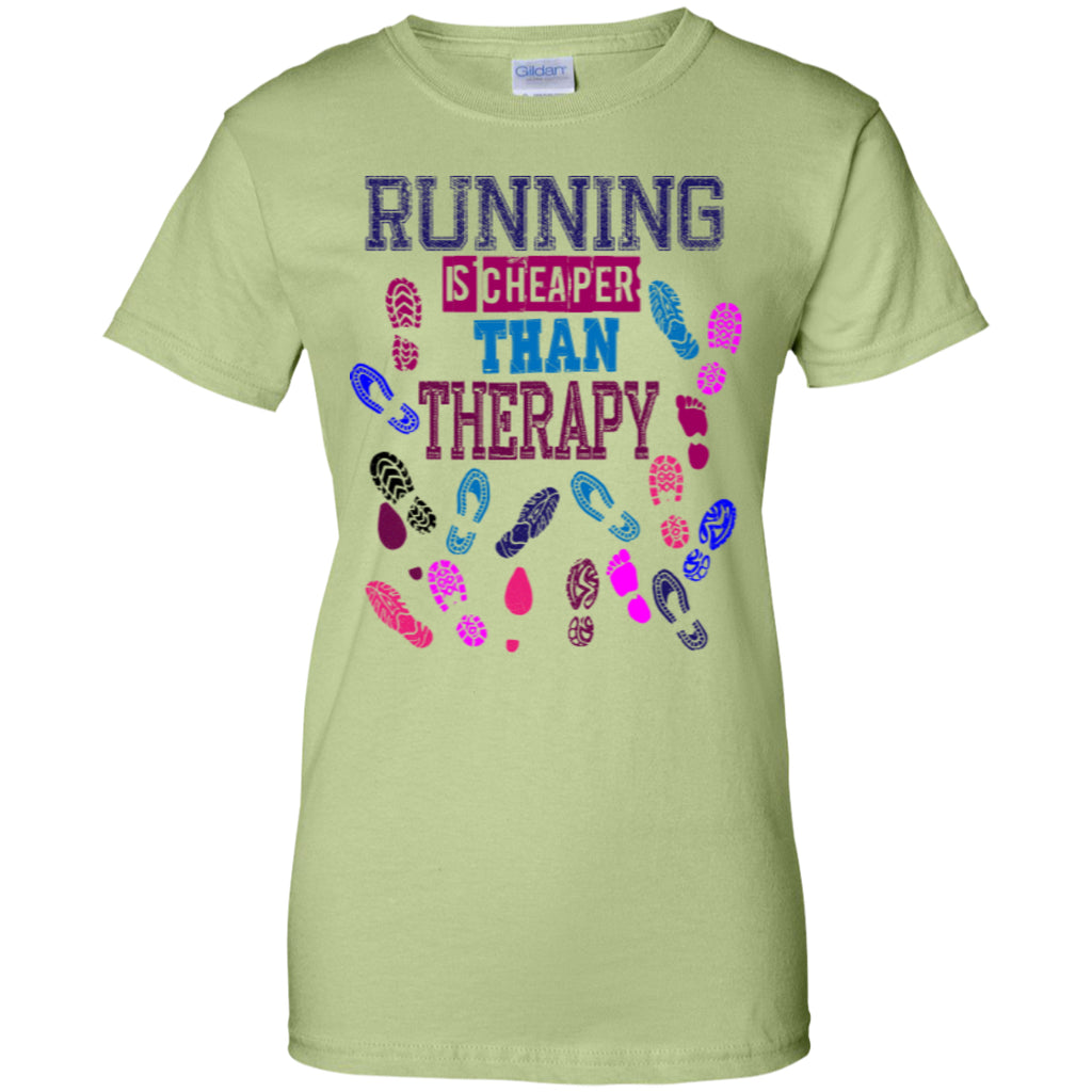 RUNNING THERAPY - Ladies Custom 100% Cotton T-Shirt - GoneBold.gift