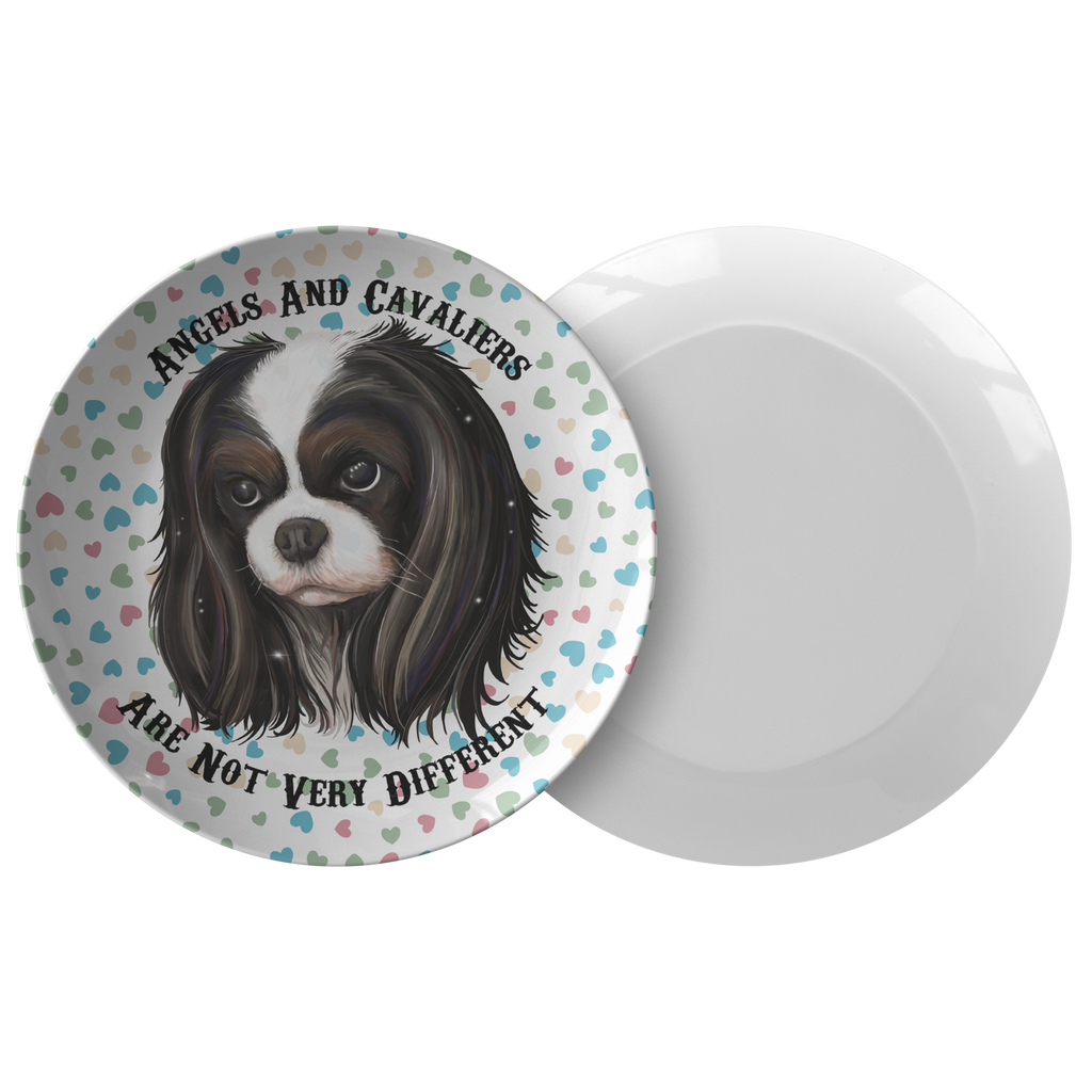 Angels And Cavaliers Are Not Very Different - Tricolor Cavalier King Charles Spaniel Dinner Plate - GoneBold.gift