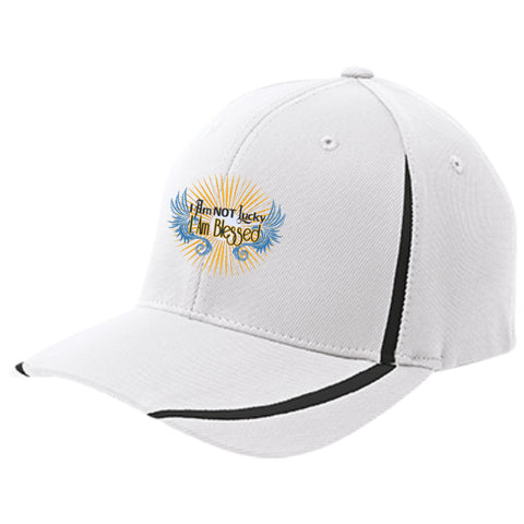 I AM NOT LUCKY, I AM BLESSED - Flexfit Colorblock Cap - GoneBold.gift