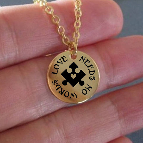 Laser Engraved Necklace - Love Needs No Words Laser Engraved Necklace - 18K Gold Plated & Stainless Steel