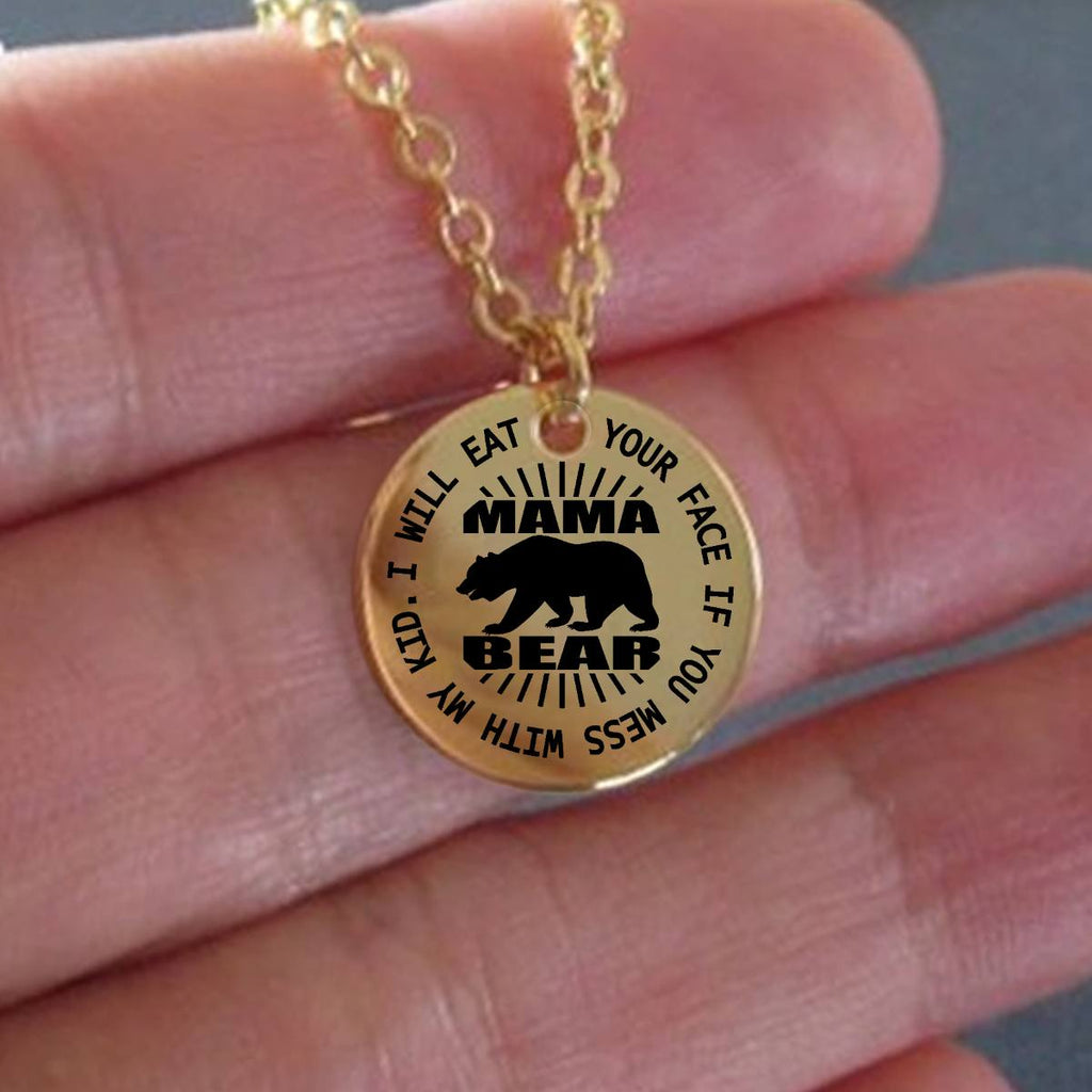 Mama Bear Laser Engraved 18K Gold Plated and Stainless Steel Necklaces - GoneBold.gift