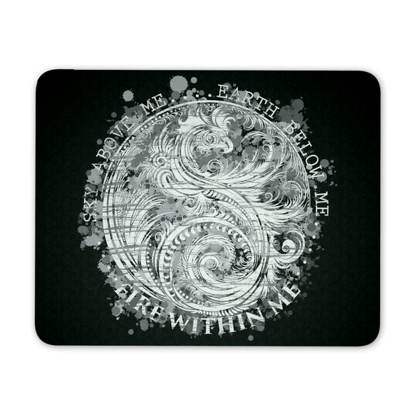 Sky Above Me, Earth Below Me, Fire Within Me - Black and White Dragon Yin Yang Swirl - Mouse Pad
