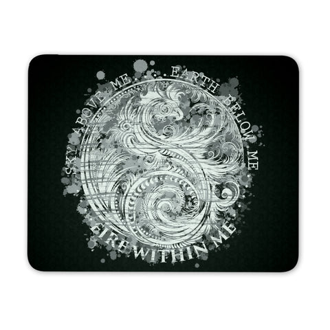 Sky Above Me, Earth Below Me, Fire Within Me - Black and White Dragon Yin Yang Swirl - Mouse Pad - GoneBold.gift