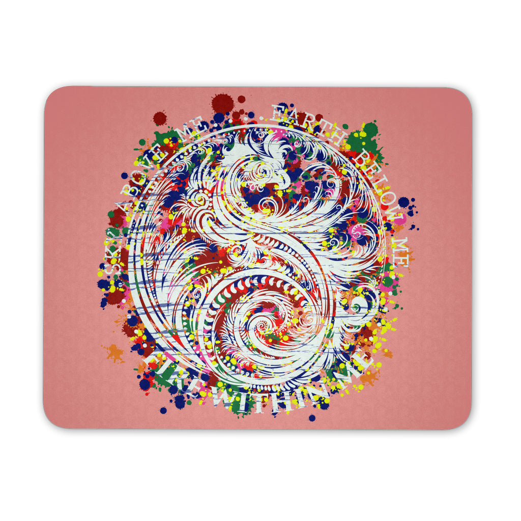 Sky Above Me, Earth Below Me, Fire Within Me - Color Dragon Yin Yang Swirl - Mouse Pad - GoneBold.gift
