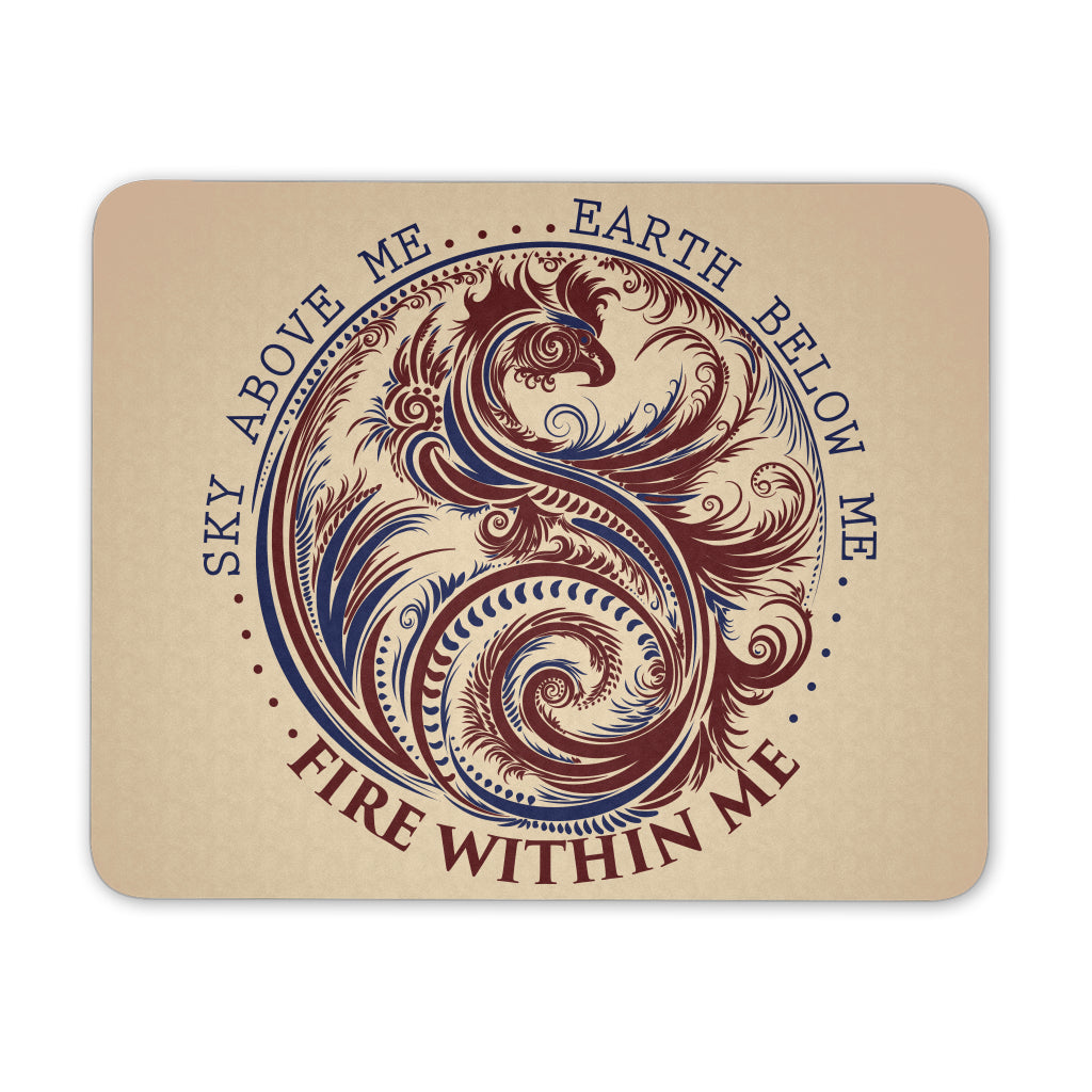 Sky Above Me, Earth Below Me, Fire Within Me - Red and Blue Dragon Yin Yang Swirl - Mouse Pad - GoneBold.gift