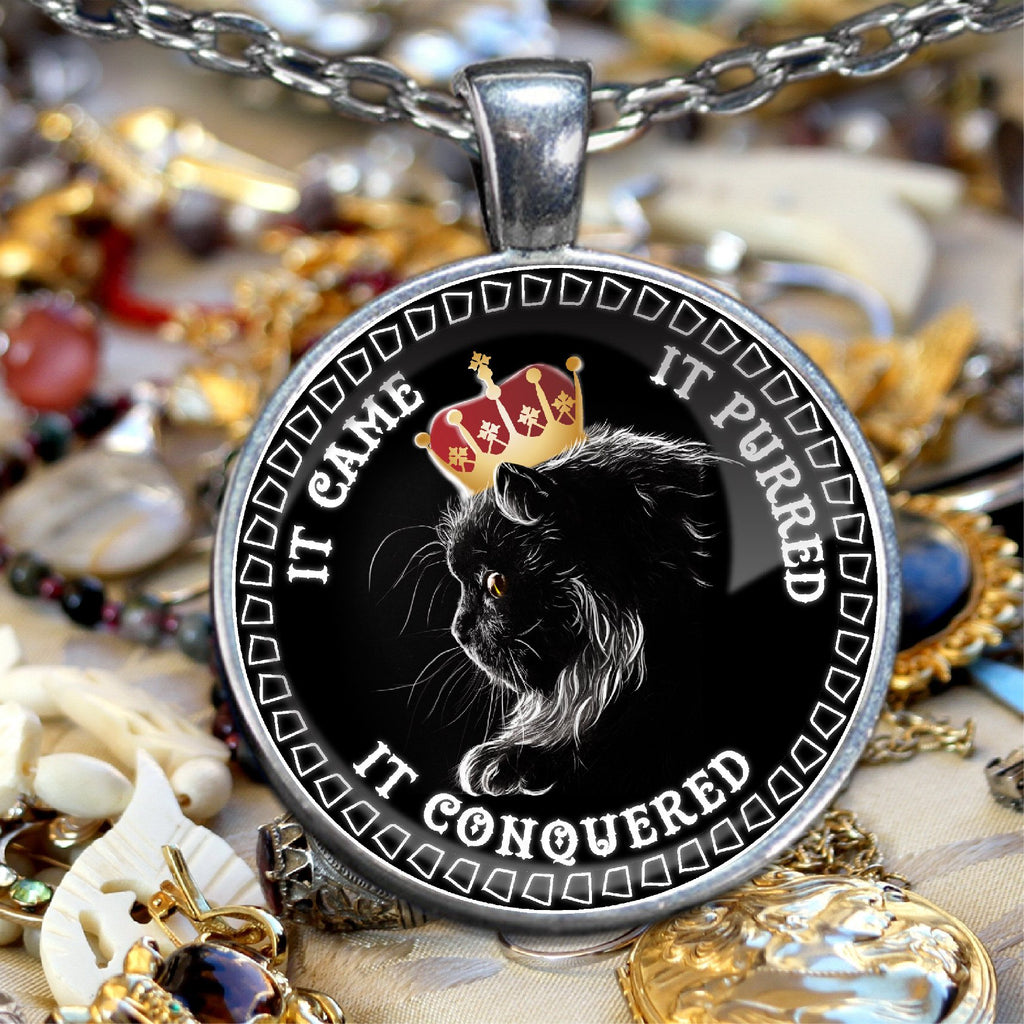 It Came It Purred It Conquered Silver Plated Cat Lovers Necklace - GoneBold.gift
