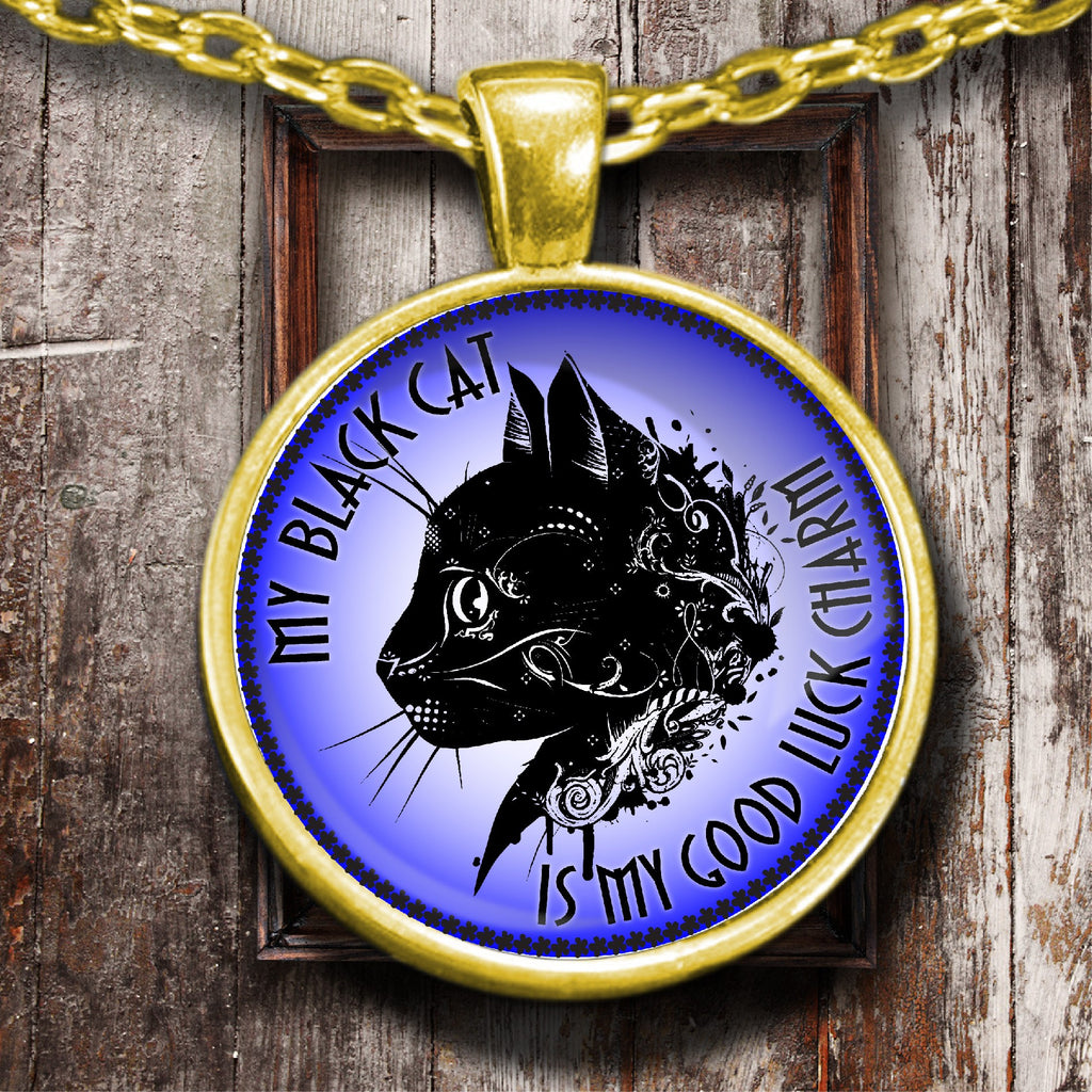My Black Cat Is My Good Luck Charm Golden Plated Necklace - GoneBold.gift