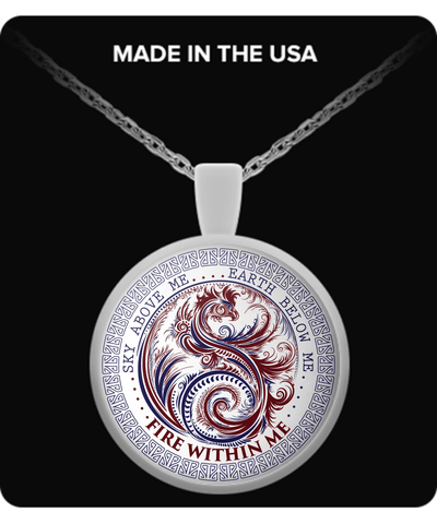 Silver Plated Fire Within Me Red and Blue Dragon Swirl Pendant with Necklace - GoneBold.gift