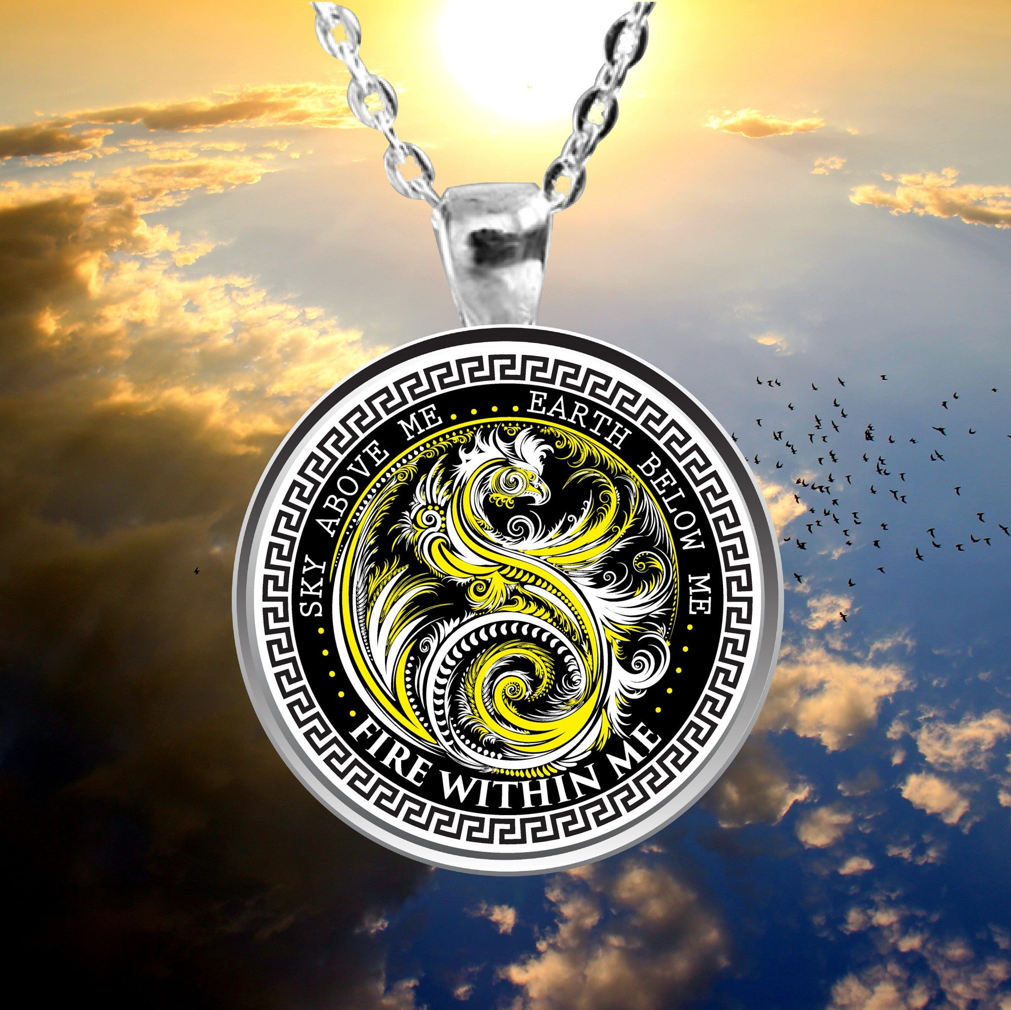 Silver Plated Yin Yang Dragon Swirl Pendant With Necklace Yellow