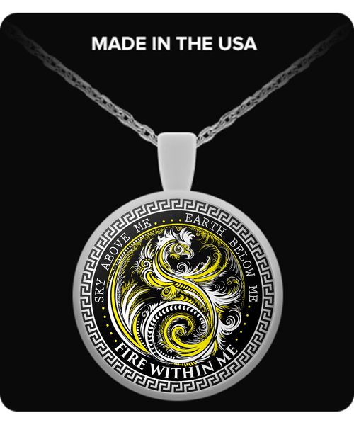 Silver Plated Yin Yang Dragon Swirl Pendant with Necklace-Yellow Dragon