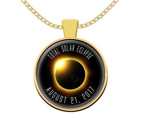 Necklace - Solar Eclipse Necklace 2017 Gold Plated
