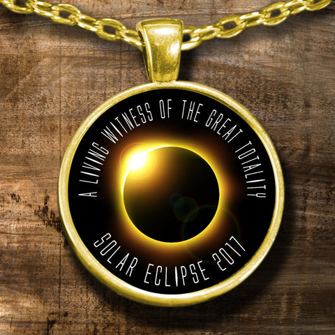 Necklace - Solar Eclipse Necklace - A Living Witness Gold Eclipse Gold Memorabilia