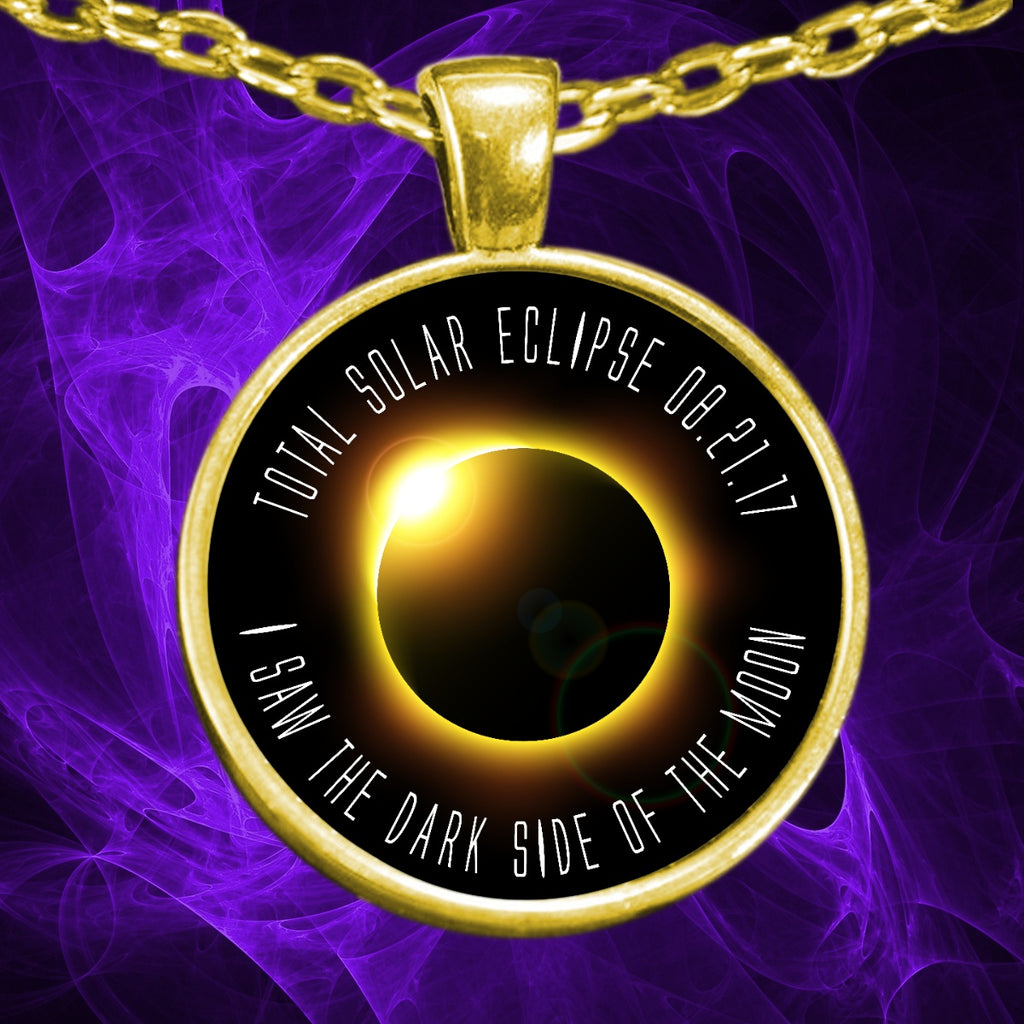 Solar Eclipse Necklace - Dark Side Of The Moon Gold Plated - GoneBold.gift