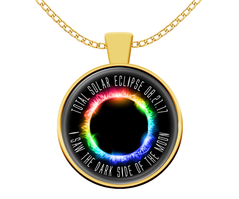 Necklace - Solar Eclipse Necklace - Dark Side Of The Moon Gold Plated