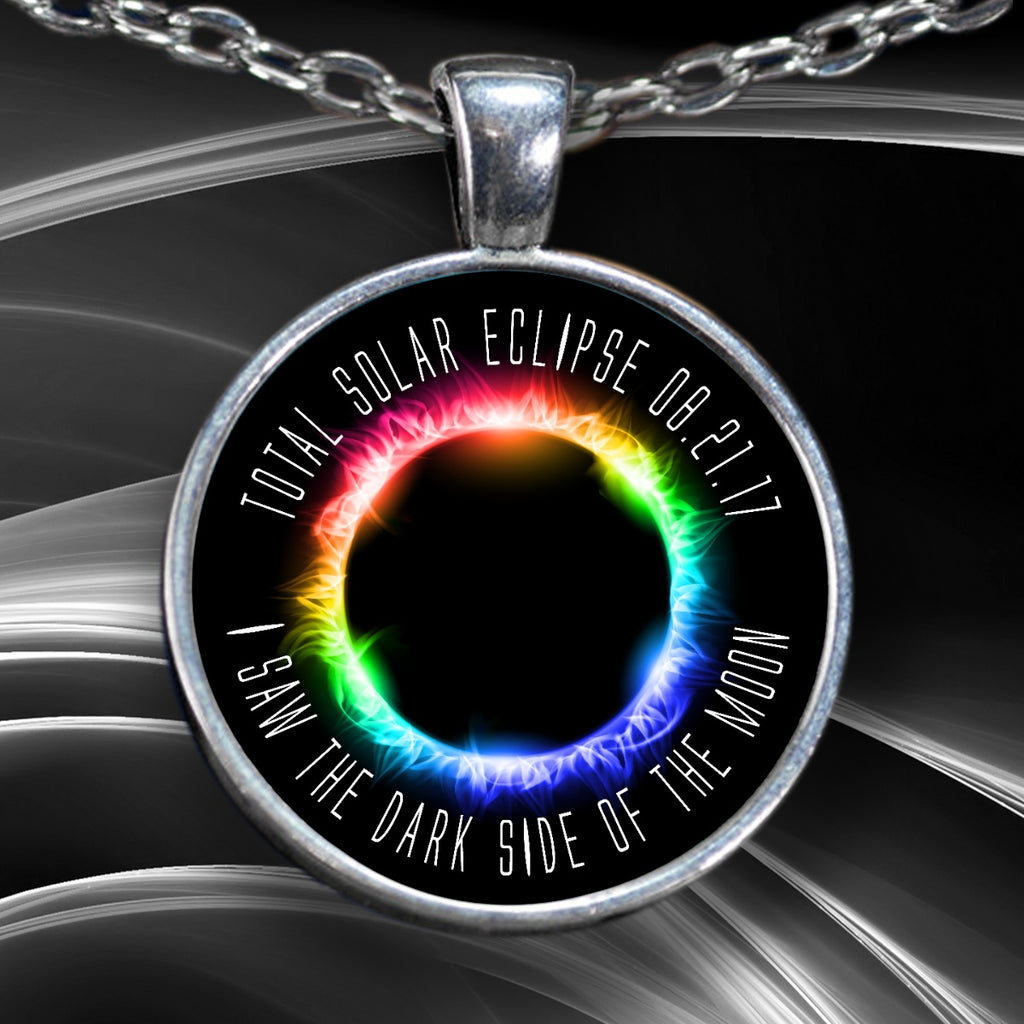 Solar Eclipse Necklace - Dark Side Of The Moon Rainbow Silver - GoneBold.gift