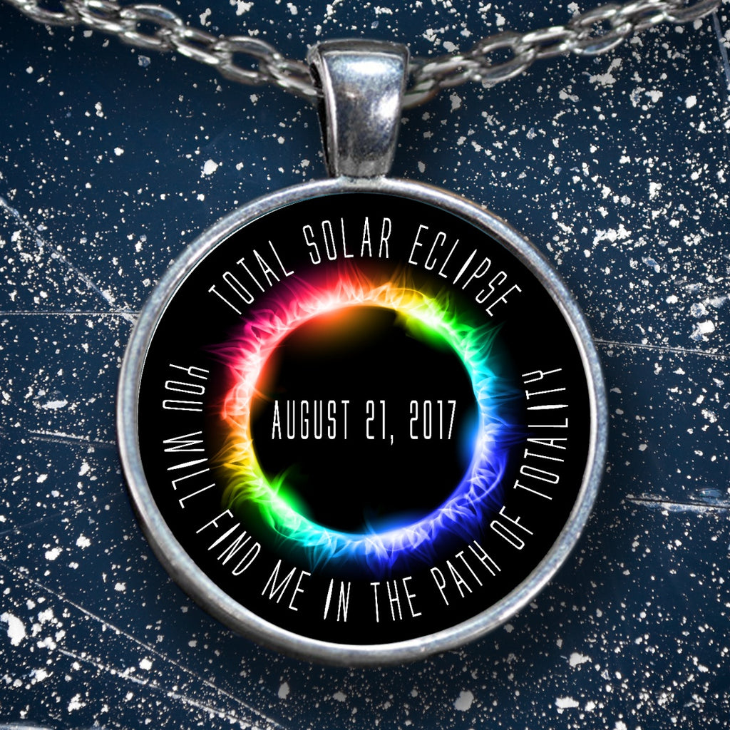 Solar Eclipse Necklace Path of Totality Silver necklace - GoneBold.gift