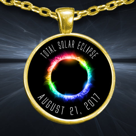 Necklace - Solar Eclipse Necklace Rainbow 2017 Gold Plated