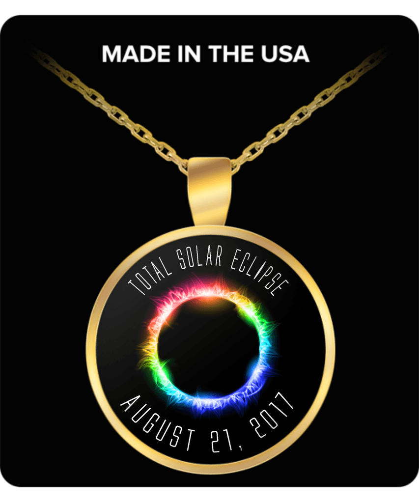 Solar Eclipse Necklace Rainbow 2017 gold plated - GoneBold.gift