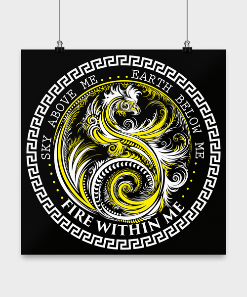 "Sky Above Me Earth Below Me Fire Within Me 16"" by 16"" Yin Yang Dragon Poster - Yellow On Black"