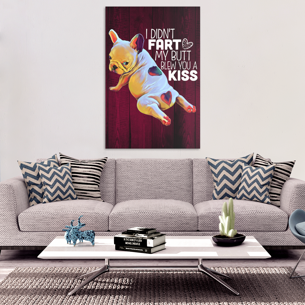 French Bulldog Art - French Kiss Canvas Print - GoneBold.gift