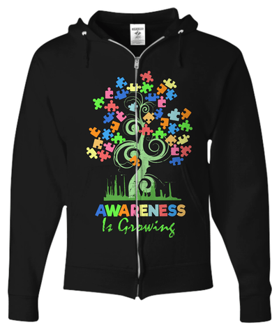 Awareness Tree Full Zip Hoodie - GoneBold.gift