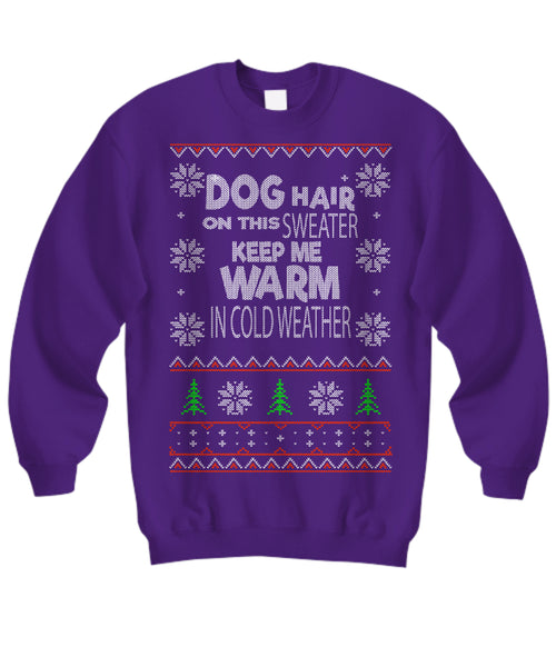 Dog Hair Funny Dog Lovers Ugly Christmas Sweater - GoneBold.gift
