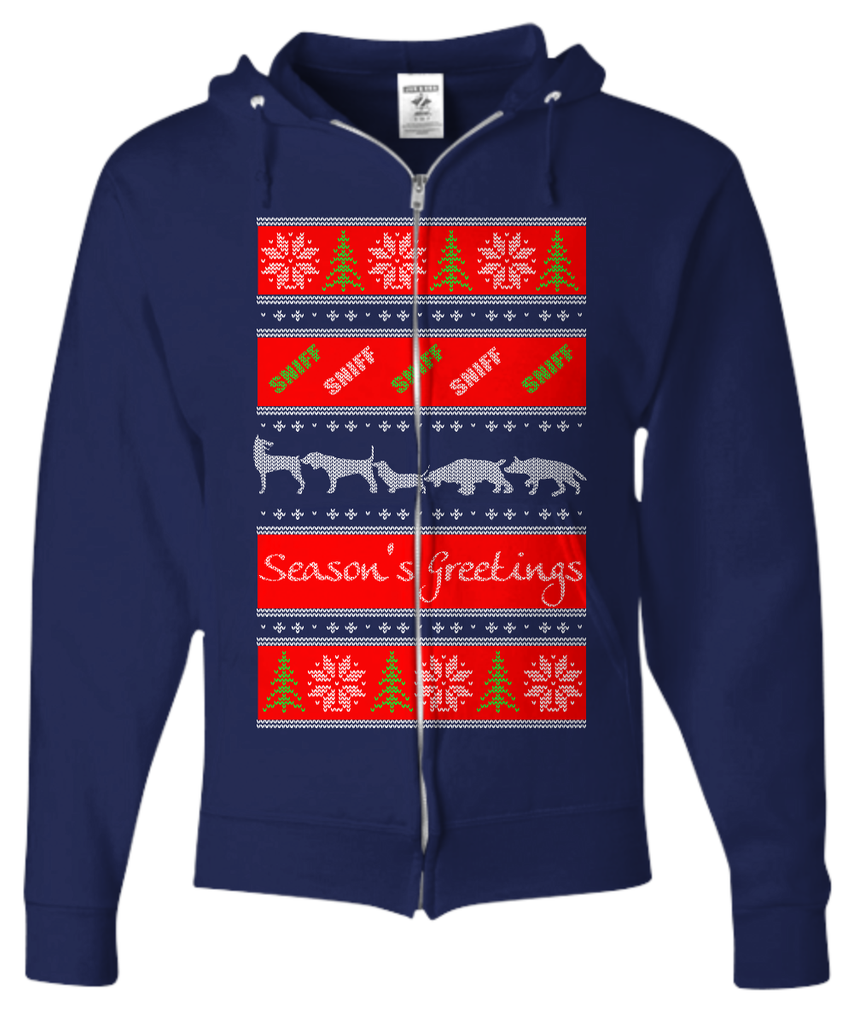 Doggy Season's Greetings Ugly Christmas Hoodie - GoneBold.gift