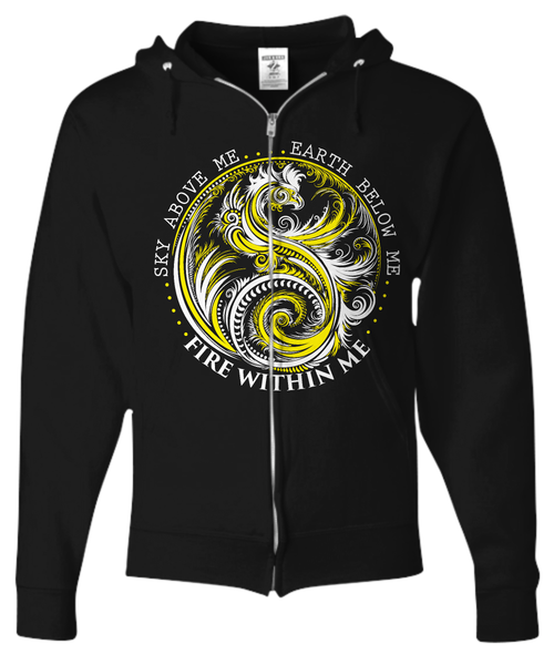 Fire Within Yellow Dragon - Unisex Zip Hoodie