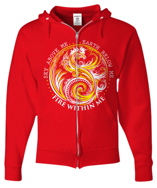 Shirt / Hoodie - Fire Within Yellow Dragon - Unisex Zip Hoodie