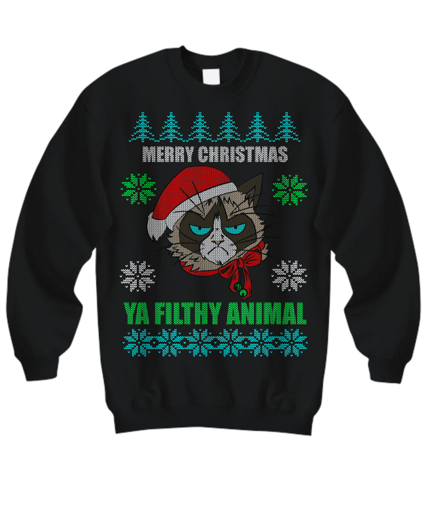 Merry Christmas Ya Filthy Animals - Ugly Christmas Sweater - GoneBold.gift