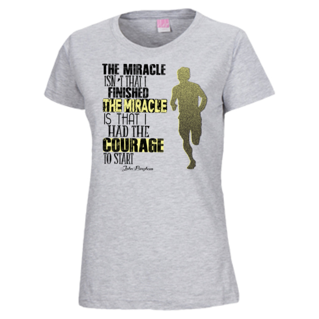 COURAGE TO START - Ladies Custom Fine Jersey T-Shirt - GoneBold.gift