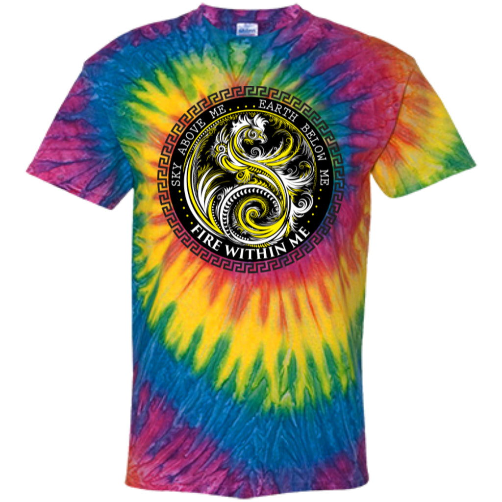 Fire Within Me Yellow Ying Yang Dragon Swirl - Customized 100% Cotton Tie Dye T-Shirt - GoneBold.gift