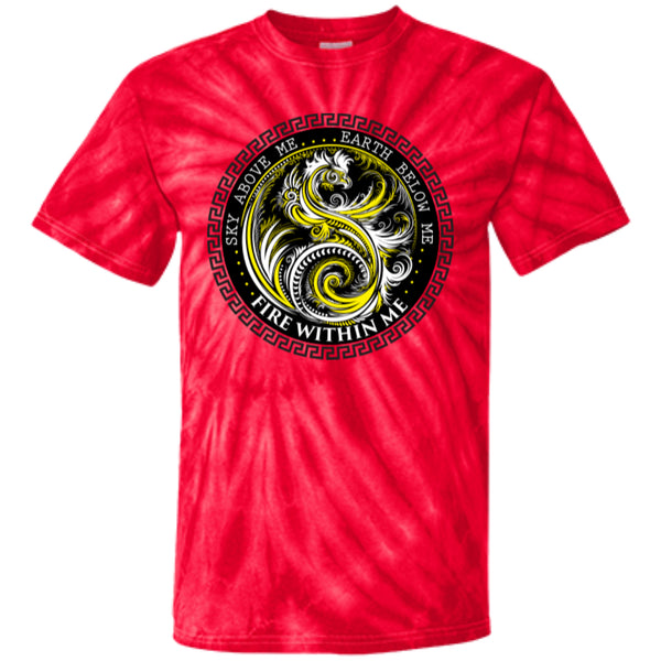 Fire Within Me Yellow Ying Yang Dragon Swirl - Customized 100% Cotton Tie Dye T-Shirt