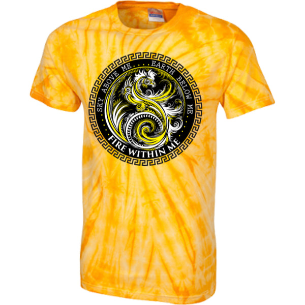 Fire Within Me Yellow Ying Yang Dragon Swirl - Customized 100% Cotton Tie Dye T-Shirt - GoneBold.gift - 3