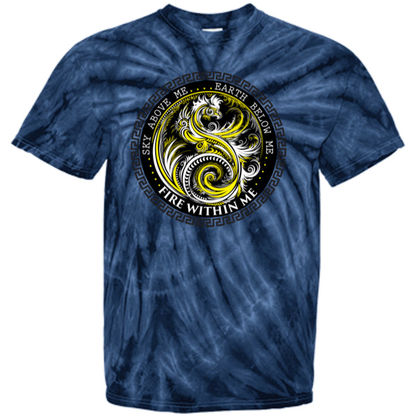 Fire Within Me Yellow Ying Yang Dragon Swirl - Customized 100% Cotton Tie Dye T-Shirt - GoneBold.gift - 4
