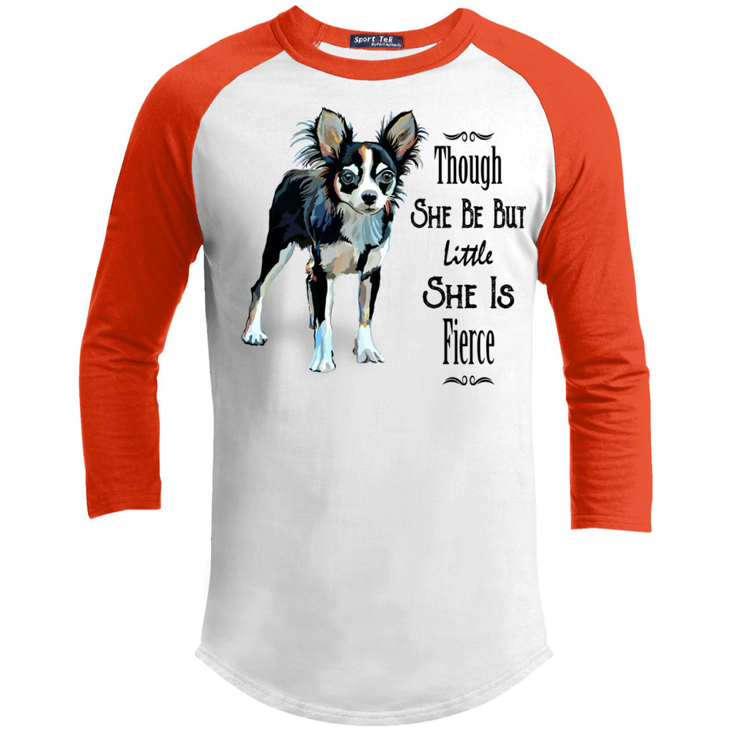 Though She Be But Little She Is Fierce Chihuahua Sporty Tee Shirt - GoneBold.gift