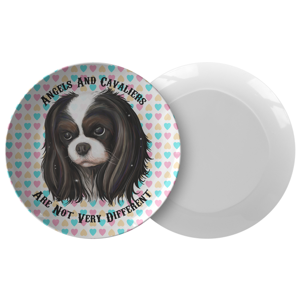 Cavalier King Charles Spaniel Gifts - Tricolor Cavalier Dinner Plate - Angels and Cavaliers - GoneBold.gift