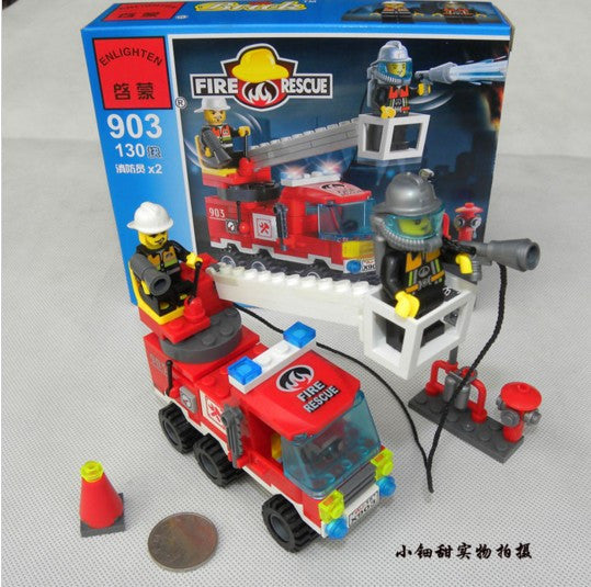 Fire Department ladder truck fire 130 903children action figure Genuine enlightenment toy building blocks assembled single bridge