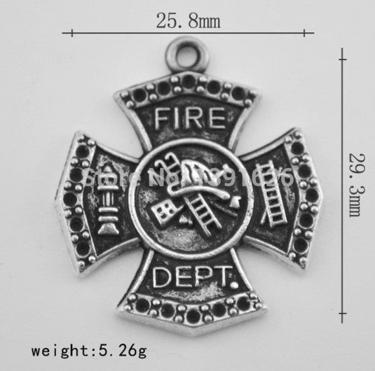 Silver sport jewelry enamel fire department dabge pendants zinc alloy rhodium/antique