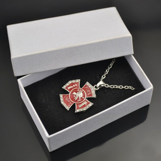 Rhinestones necklace pendant Jewelry with box, my shape dark red enamel pave white cyrstal stones fire department shield