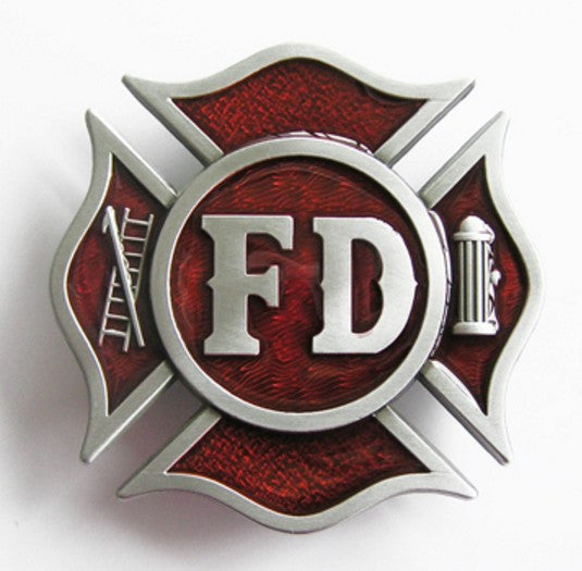 Western Belt Buckle Nice Gift For Him Firefighters Heroes Cross shaped red Fire department