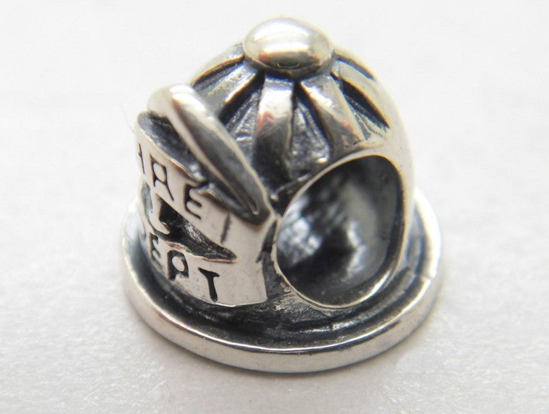 European style Bracelets Sterling Silver Fire Department Hat Fireman Helmet Charm bead