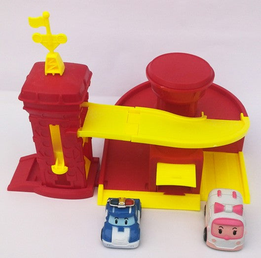 Parking Track Town Fire Center Police Department 2 pcs Korean Robocar Poli Car Toys Figures 1