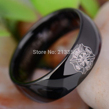 TUNGSTEN WEDDING RING, E&C TUNGSTEN LUXURY JEWELRY 8MM FIREMAN FIREFIGHTER FIRE POLICE BLACK DOME