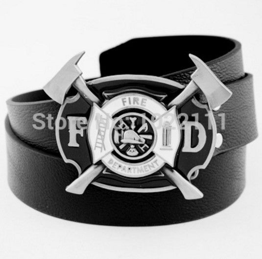 Ladder & Two Axes Mens Boys Metal Buckle Leather Belt Fire Department Logo