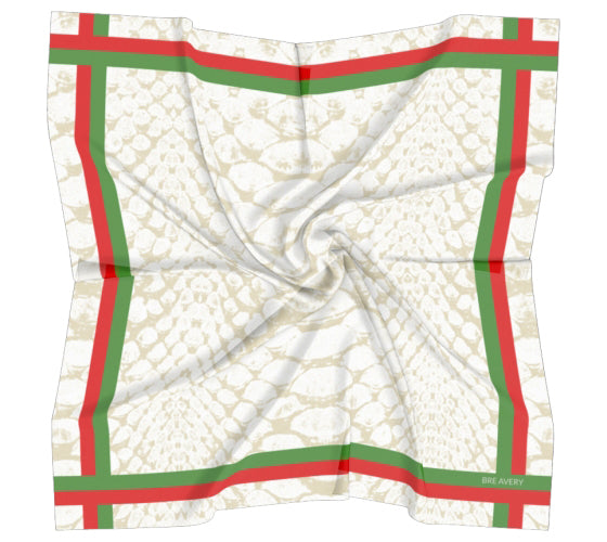 Kaela Red & Green Stripe Scarf