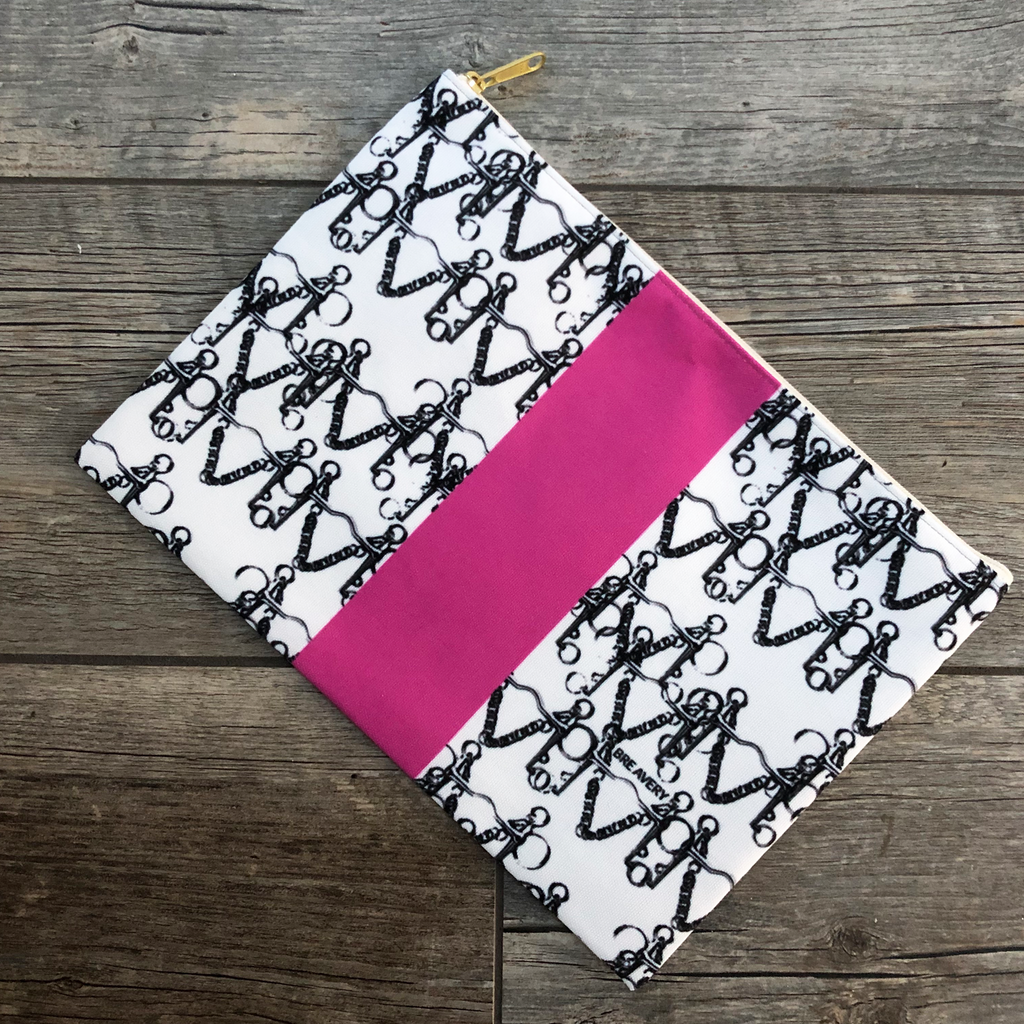 Pelham Pop Pink Stripe Zip Clutch