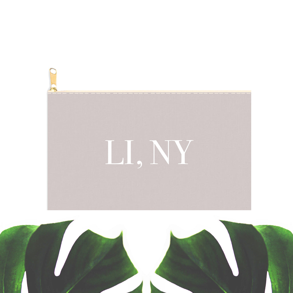 LINY Grey Zip Clutch