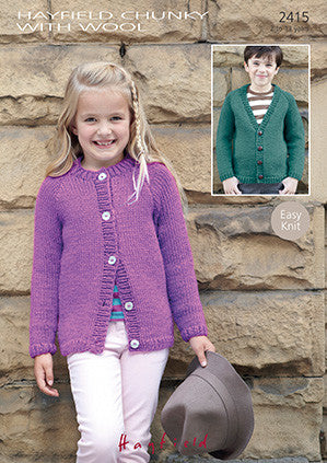 Sirdar Childrens Knitting Pattern - 2415 - Cardigan - Chunky with Wool